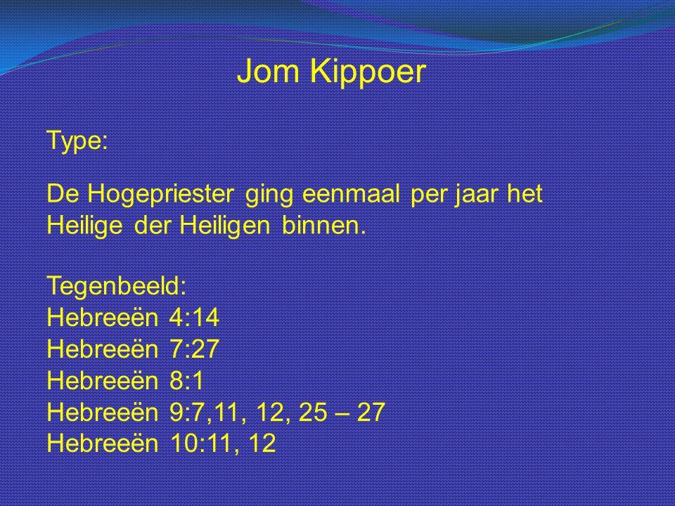 Type: Jom Kippoer De Hogepriester ging eenmaal per jaar het Heilige der Heiligen binnen. Tegenbeeld: Hebreeën 4:14 Hebreeën 7:27 Hebreeën 8:1 Hebreeën