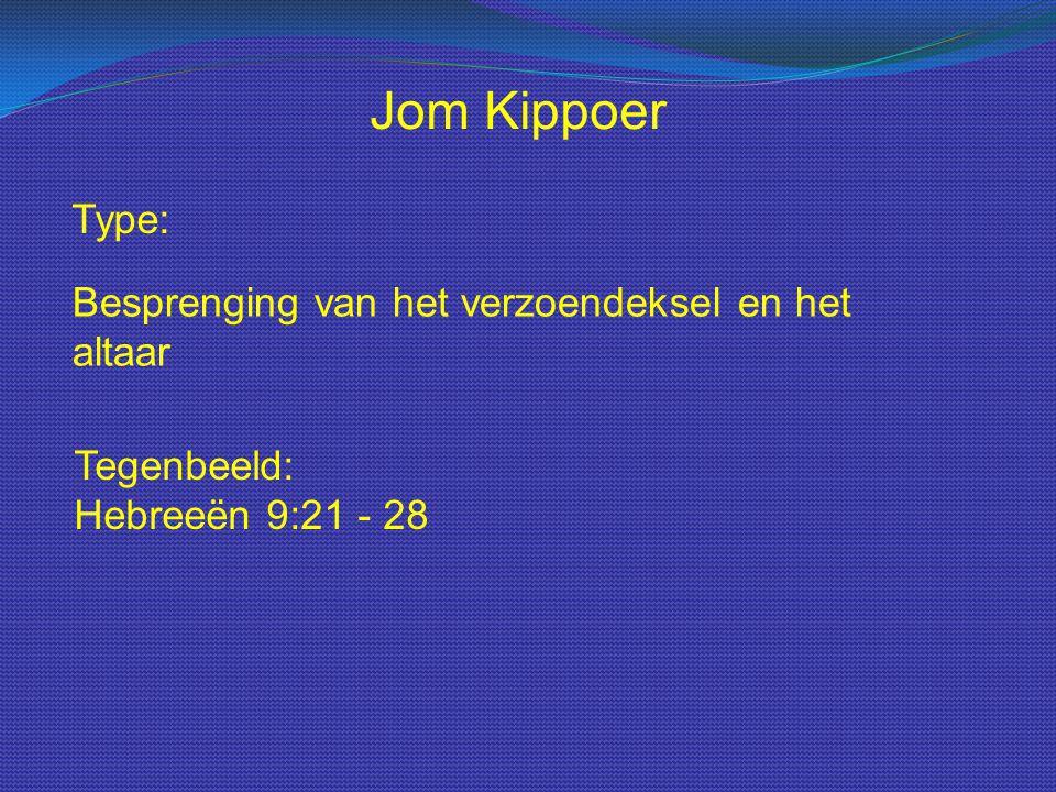 Type: Jom Kippoer Besprenging van het verzoendeksel en het altaar Tegenbeeld: Hebreeën 9:21 - 28