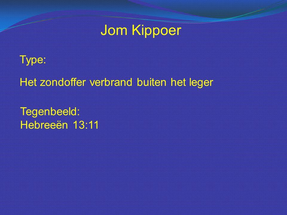 Type: Jom Kippoer Het zondoffer verbrand buiten het leger Tegenbeeld: Hebreeën 13:11