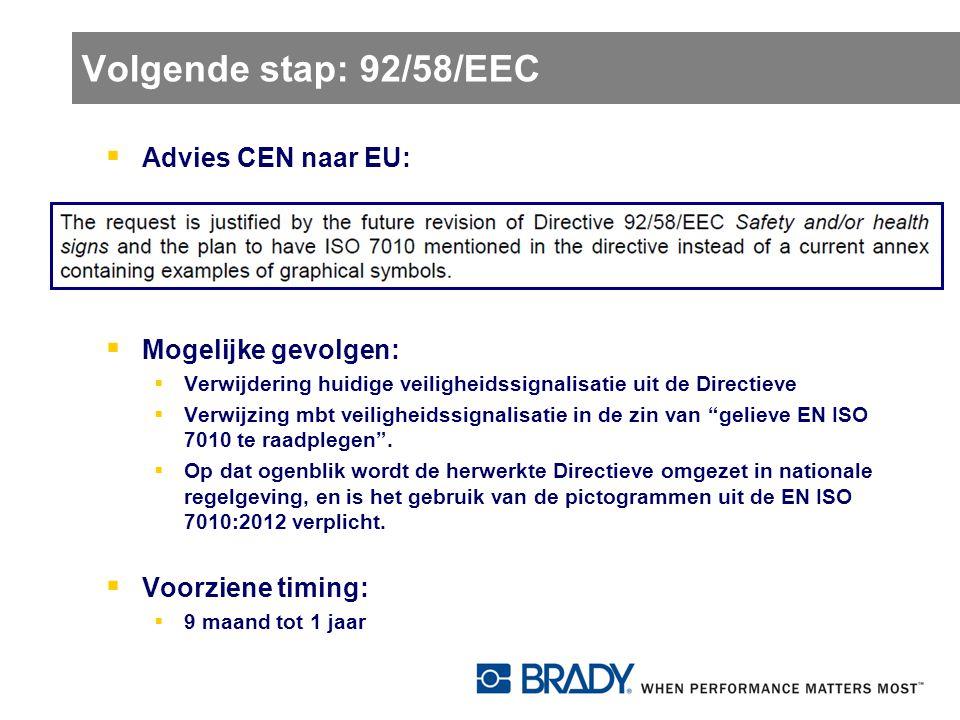 Volgende stap: 92/58/EEC  Advies CEN naar EU:  Mogelijke gevolgen:  Verwijdering huidige veiligheidssignalisatie uit de Directieve  Verwijzing mbt