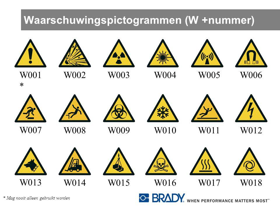 Waarschuwingspictogrammen (W +nummer) W001 * W002W003W004W005W006 W007 W008W009W010W011W012 W013 W014W015W016W017W018 * Mag nooit alleen gebruikt word