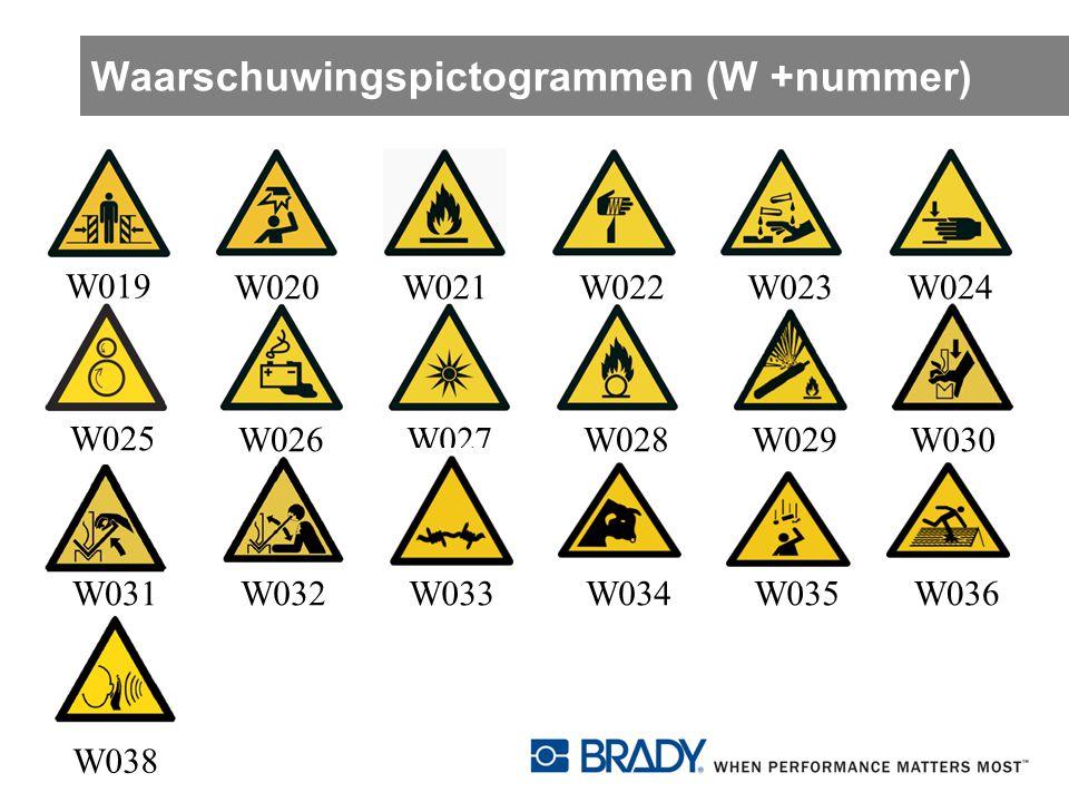 Waarschuwingspictogrammen (W +nummer) W019 W020W021W022W023W024 W025 W026W027W028W029 W030 W031W032W033W034W035W036 W038