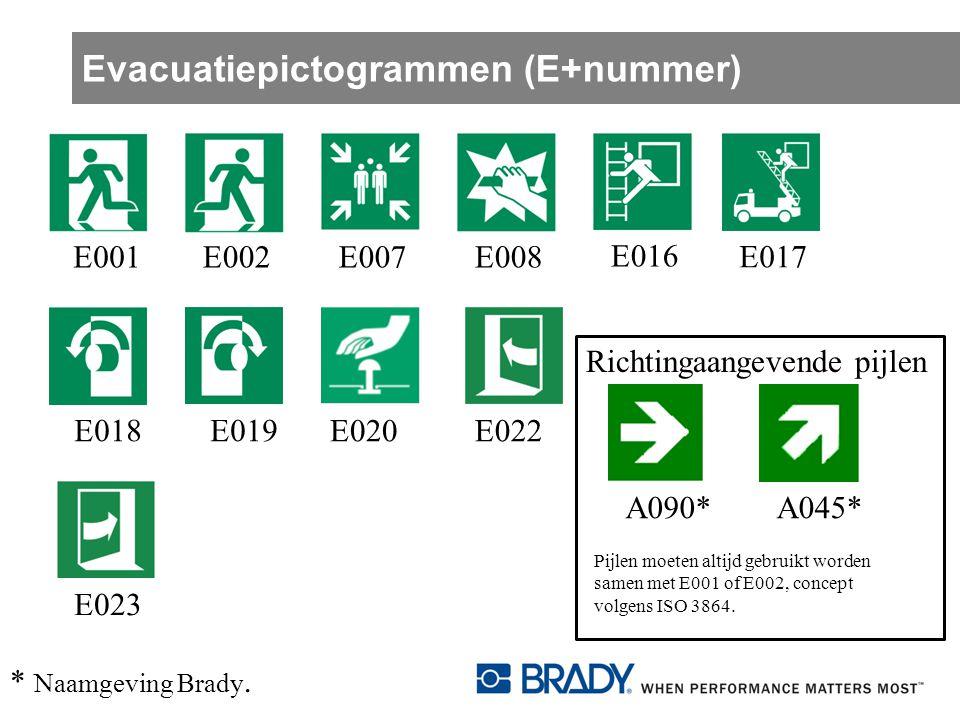 Evacuatiepictogrammen (E+nummer) E001 E002 E016 E017E018E019A090*A045* Richtingaangevende pijlen Pijlen moeten altijd gebruikt worden samen met E001 o