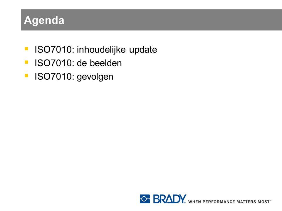 Agenda  ISO7010: inhoudelijke update  ISO7010: de beelden  ISO7010: gevolgen