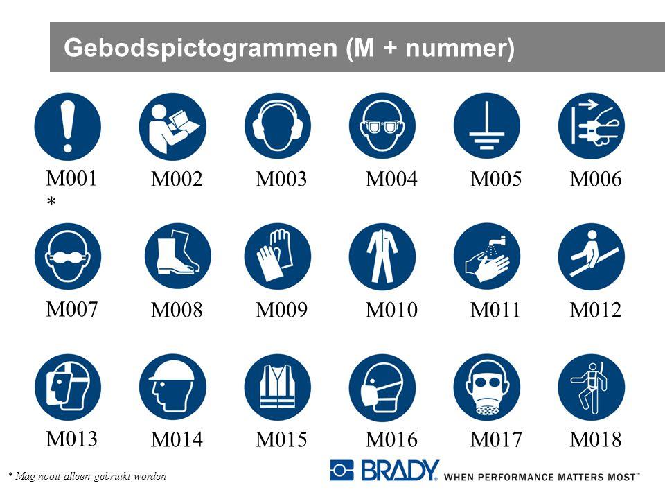 Gebodspictogrammen (M + nummer) M001 * M002M003M004M005M006 M007 M008M009M010M011M012 M013 M014M015M016M017M018 * Mag nooit alleen gebruikt worden