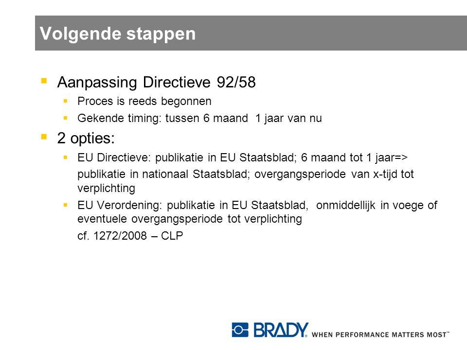 Volgende stappen  Aanpassing Directieve 92/58  Proces is reeds begonnen  Gekende timing: tussen 6 maand 1 jaar van nu  2 opties:  EU Directieve: