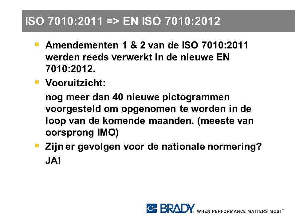 EN ISO 7010:2012  Eens opgenomen als EN-norm: verplichte overname alle lidstaten zonder wijzigingen, noch tekst, noch beeld  Deadline: in principe onmiddellijk (tot 6 maand na publicatie door CEN)