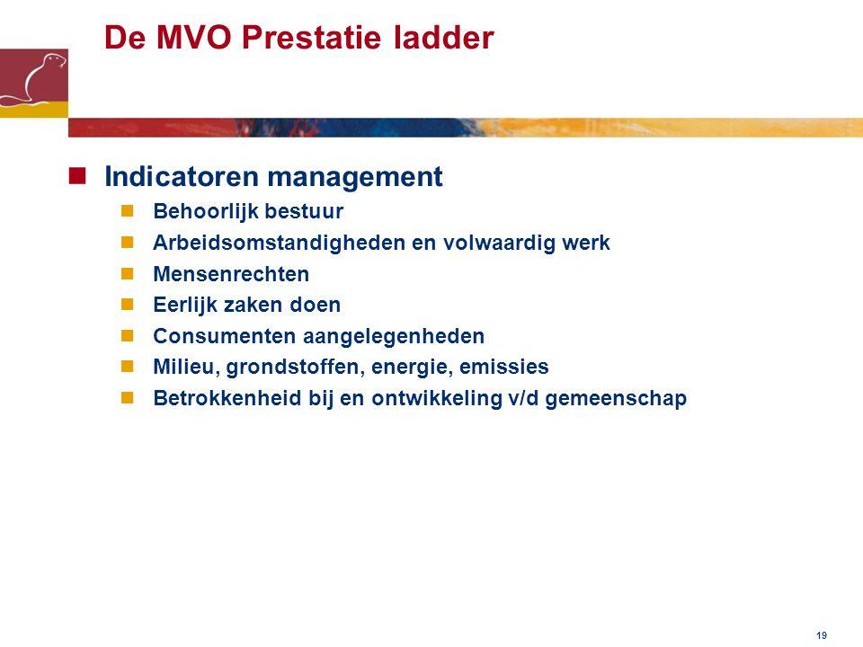 De MVO Prestatie ladder Indicatoren management Behoorlijk bestuur Arbeidsomstandigheden en volwaardig werk Mensenrechten Eerlijk zaken doen Consumenten aangelegenheden Milieu, grondstoffen, energie, emissies Betrokkenheid bij en ontwikkeling v/d gemeenschap 19