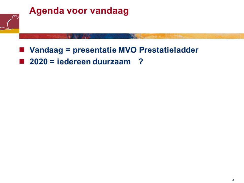 2 Agenda voor vandaag Vandaag = presentatie MVO Prestatieladder 2020 = iedereen duurzaam ?