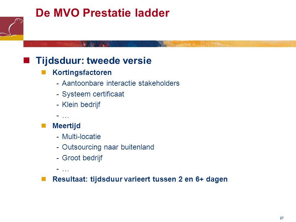 De MVO Prestatie ladder Tijdsduur: tweede versie Kortingsfactoren -Aantoonbare interactie stakeholders -Systeem certificaat -Klein bedrijf -… Meertijd -Multi-locatie -Outsourcing naar buitenland -Groot bedrijf -… Resultaat: tijdsduur varieert tussen 2 en 6+ dagen 27