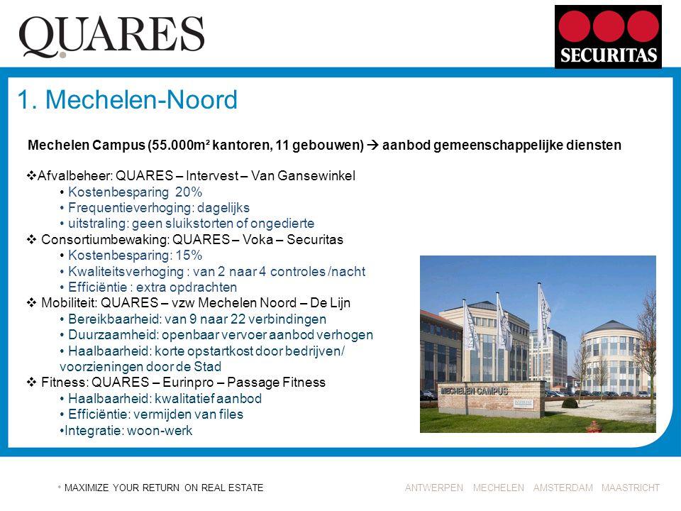 ANTWERPEN MECHELEN AMSTERDAM MAASTRICHT MAXIMIZE YOUR RETURN ON REAL ESTATE 1. Mechelen-Noord  Afvalbeheer: QUARES – Intervest – Van Gansewinkel Kost