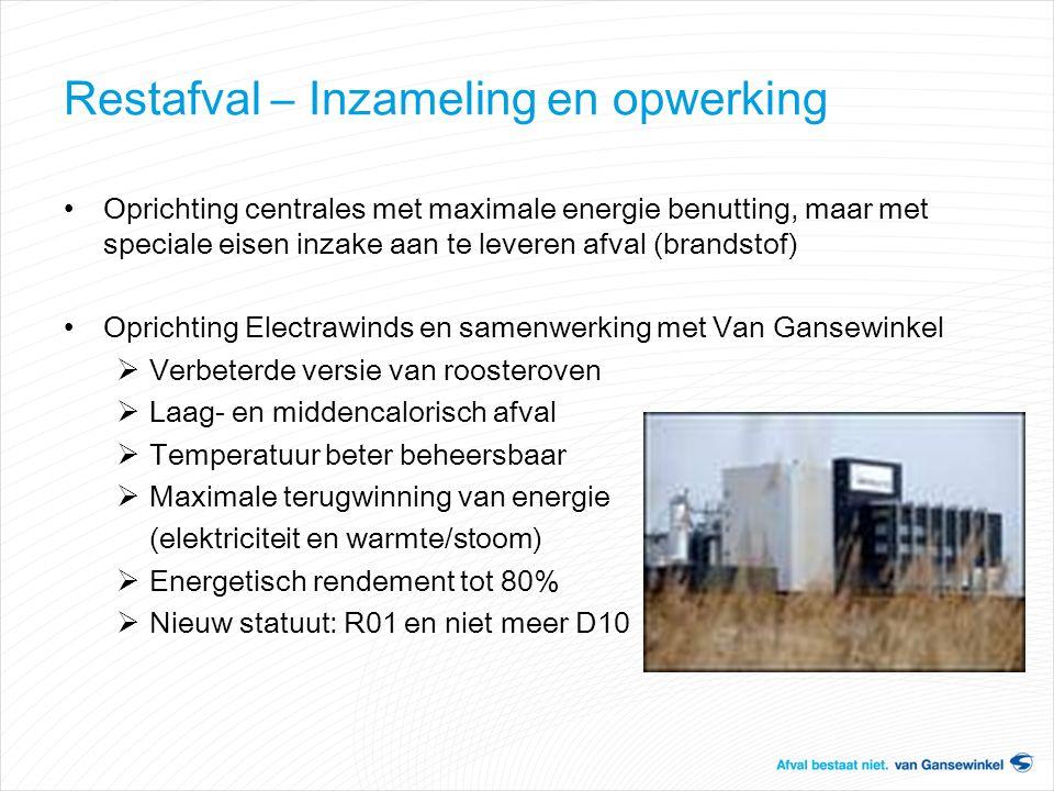 Restafval – Inzameling en opwerking Oprichting centrales met maximale energie benutting, maar met speciale eisen inzake aan te leveren afval (brandsto