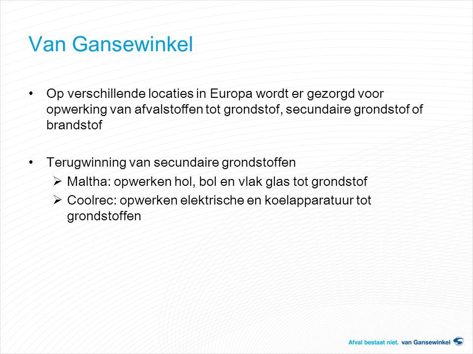 Van Gansewinkel Op verschillende locaties in Europa wordt er gezorgd voor opwerking van afvalstoffen tot grondstof, secundaire grondstof of brandstof