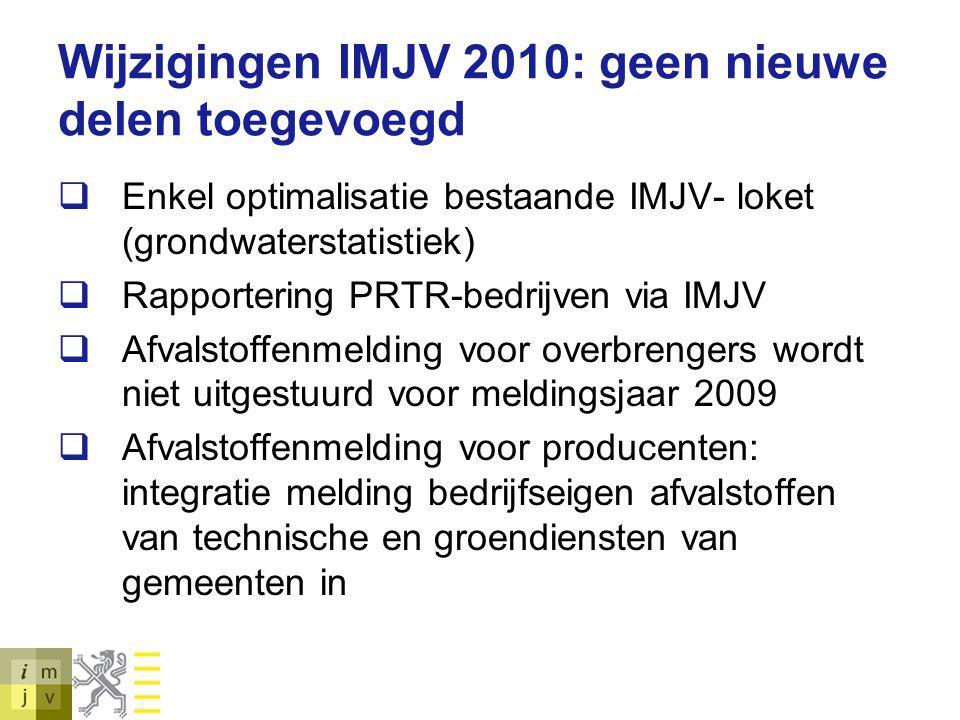 Wijzigingen IMJV 2010: geen nieuwe delen toegevoegd  Enkel optimalisatie bestaande IMJV- loket (grondwaterstatistiek)  Rapportering PRTR-bedrijven v