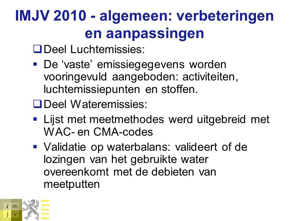 IMJV 2010 - algemeen: verbeteringen en aanpassingen  Deel Luchtemissies:  De 'vaste' emissiegegevens worden vooringevuld aangeboden: activiteiten, l