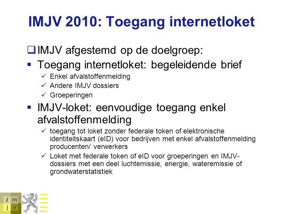 IMJV 2010: Toegang internetloket  IMJV afgestemd op de doelgroep:  Toegang internetloket: begeleidende brief Enkel afvalstoffenmelding Andere IMJV d