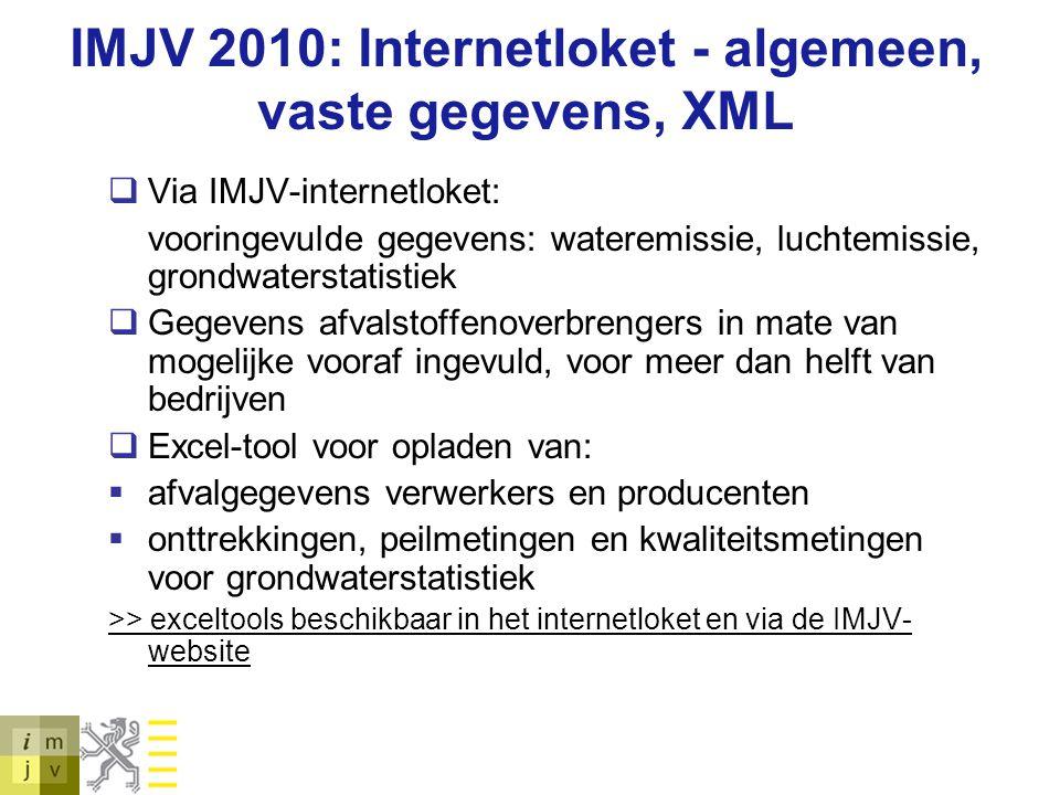 IMJV 2010: Internetloket - algemeen, vaste gegevens, XML  Via IMJV-internetloket: vooringevulde gegevens: wateremissie, luchtemissie, grondwaterstati