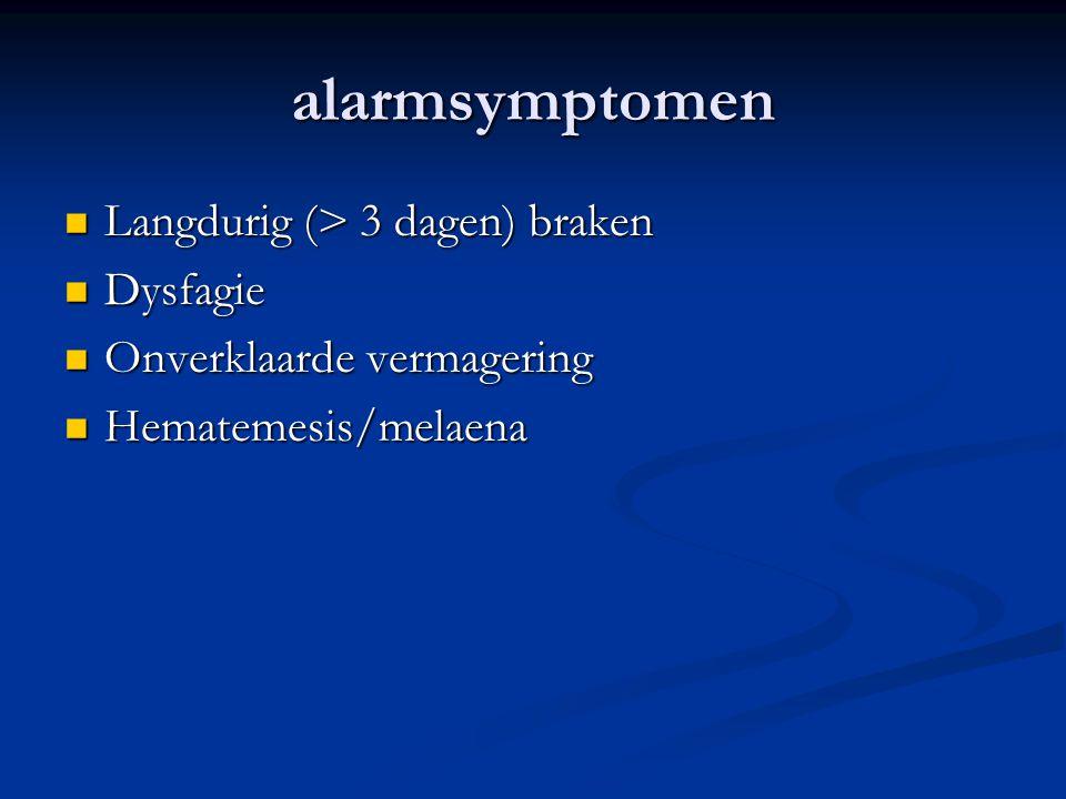 alarmsymptomen Langdurig (> 3 dagen) braken Langdurig (> 3 dagen) braken Dysfagie Dysfagie Onverklaarde vermagering Onverklaarde vermagering Hematemes