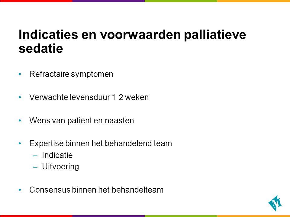 Indicaties en voorwaarden palliatieve sedatie Refractaire symptomen Verwachte levensduur 1-2 weken Wens van patiënt en naasten Expertise binnen het be