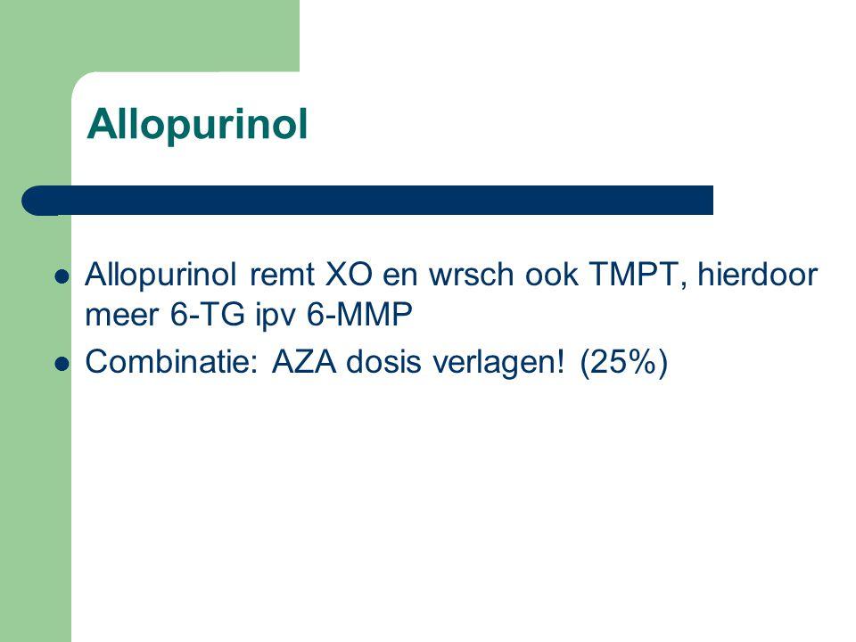 Allopurinol Allopurinol remt XO en wrsch ook TMPT, hierdoor meer 6-TG ipv 6-MMP Combinatie: AZA dosis verlagen! (25%)