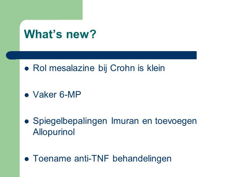 What's new? Rol mesalazine bij Crohn is klein Vaker 6-MP Spiegelbepalingen Imuran en toevoegen Allopurinol Toename anti-TNF behandelingen