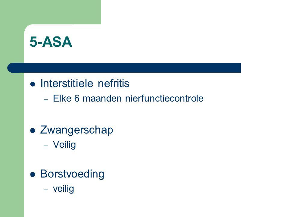 5-ASA Interstitiele nefritis – Elke 6 maanden nierfunctiecontrole Zwangerschap – Veilig Borstvoeding – veilig
