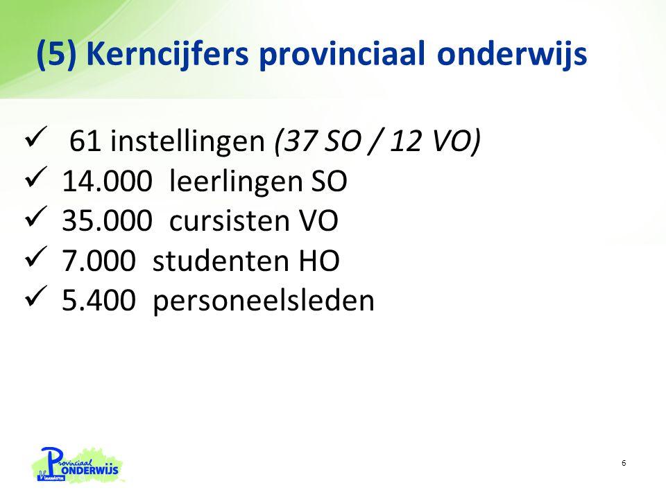 61 instellingen (37 SO / 12 VO) 14.000 leerlingen SO 35.000 cursisten VO 7.000 studenten HO 5.400 personeelsleden (5) Kerncijfers provinciaal onderwijs 6