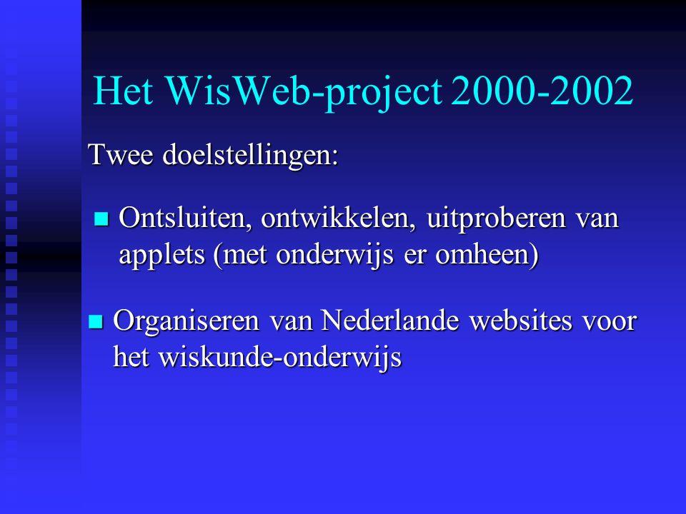 WisWeb 1990 - heden n Begonnen als hobby en web- experimenteertuin van het FI n Geworden de website voor VO-wiskunde bij het FI n Sinds 2000 een echt ict-ontwikkel project