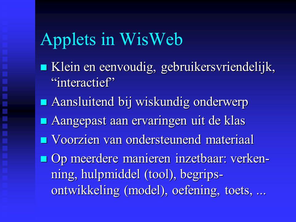 Applets Programma's die via internet verspreid kunnen worden en on-line kunnen draaien