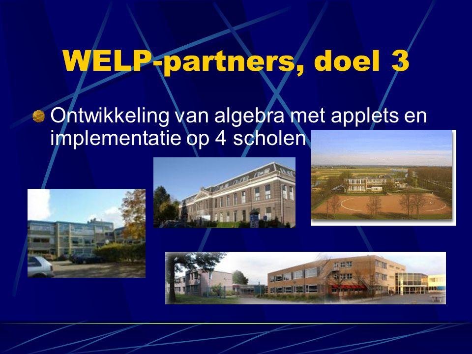 WELP-partners, doel 3 Ontwikkeling van algebra met applets en implementatie op 4 scholen