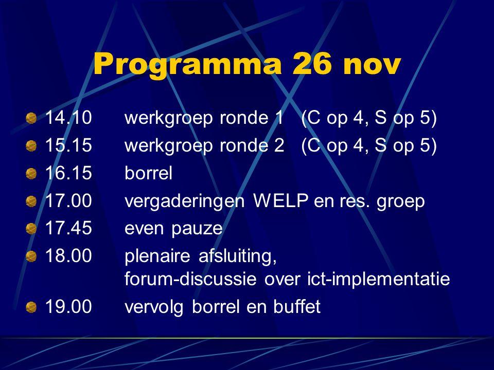 Programma 26 nov 14.10werkgroep ronde 1 (C op 4, S op 5) 15.15werkgroep ronde 2 (C op 4, S op 5) 16.15borrel 17.00 vergaderingen WELP en res.