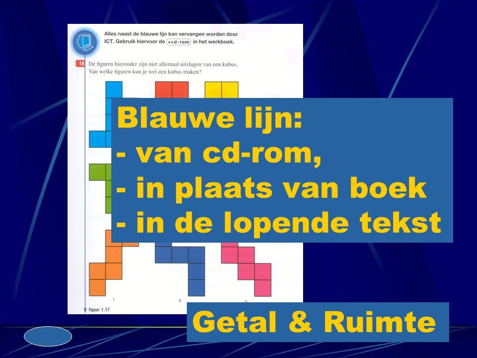 Blauwe lijn: - van cd-rom, - in plaats van boek - in de lopende tekst Getal & Ruimte