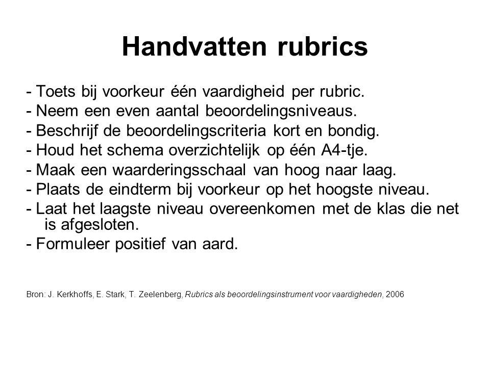 Handvatten rubrics - Toets bij voorkeur één vaardigheid per rubric. - Neem een even aantal beoordelingsniveaus. - Beschrijf de beoordelingscriteria ko