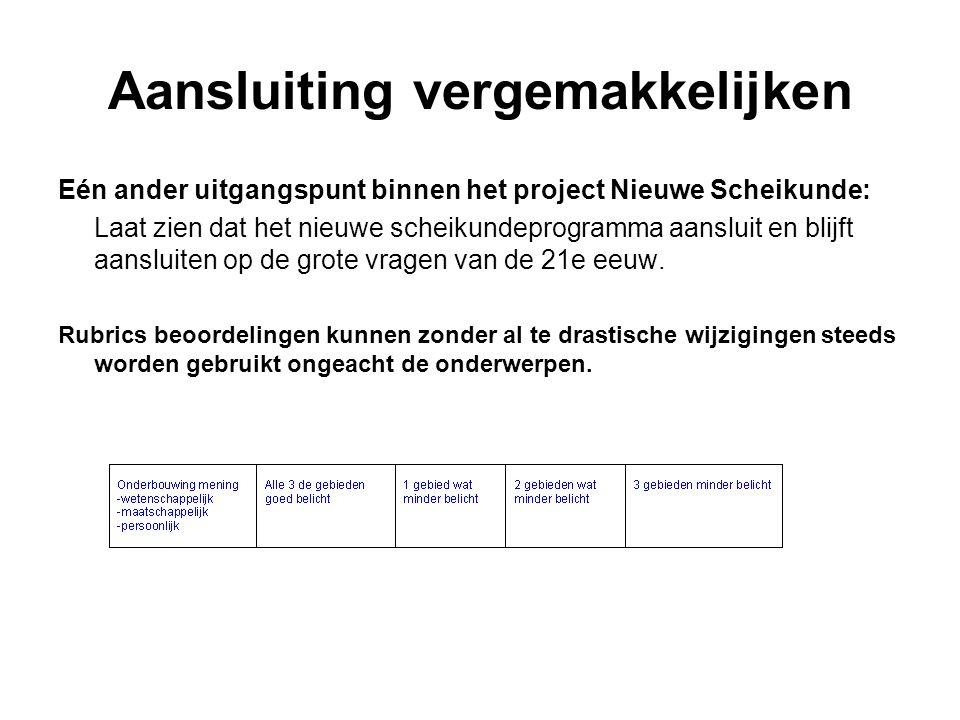 Aansluiting vergemakkelijken Eén ander uitgangspunt binnen het project Nieuwe Scheikunde: Laat zien dat het nieuwe scheikundeprogramma aansluit en bli