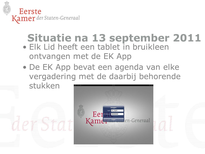 Situatie na 13 september 2011 Elk Lid heeft een tablet in bruikleen ontvangen met de EK App De EK App bevat een agenda van elke vergadering met de daa