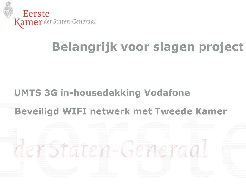 Belangrijk voor slagen project UMTS 3G in-housedekking Vodafone Beveiligd WIFI netwerk met Tweede Kamer