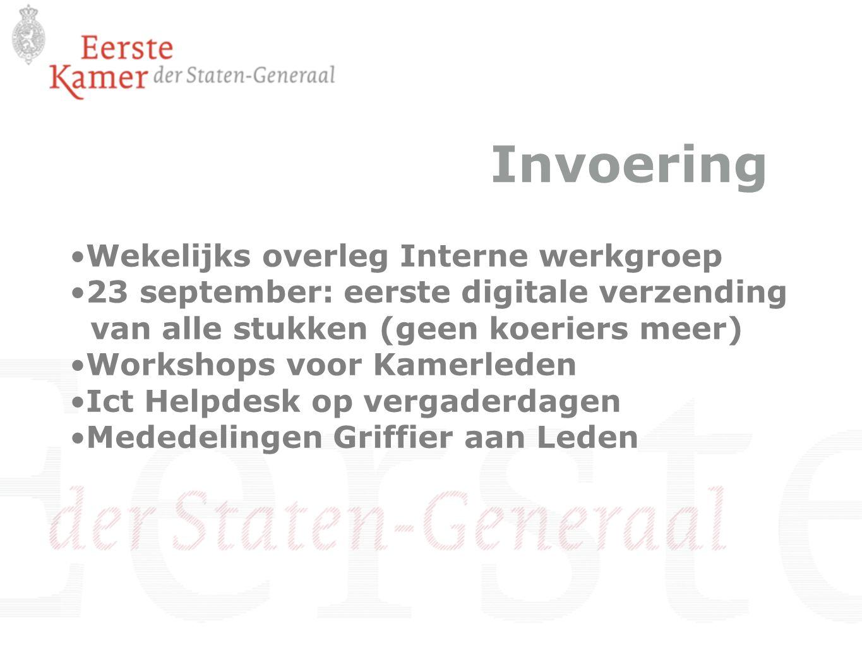Invoering Wekelijks overleg Interne werkgroep 23 september: eerste digitale verzending van alle stukken (geen koeriers meer) Workshops voor Kamerleden