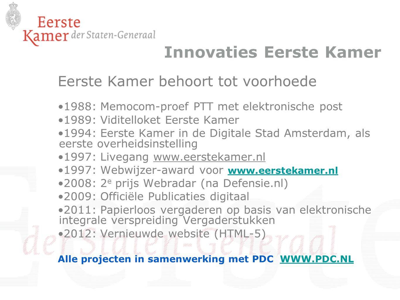 Innovaties Eerste Kamer Eerste Kamer behoort tot voorhoede 1988: Memocom-proef PTT met elektronische post 1989: Viditelloket Eerste Kamer 1994: Eerste
