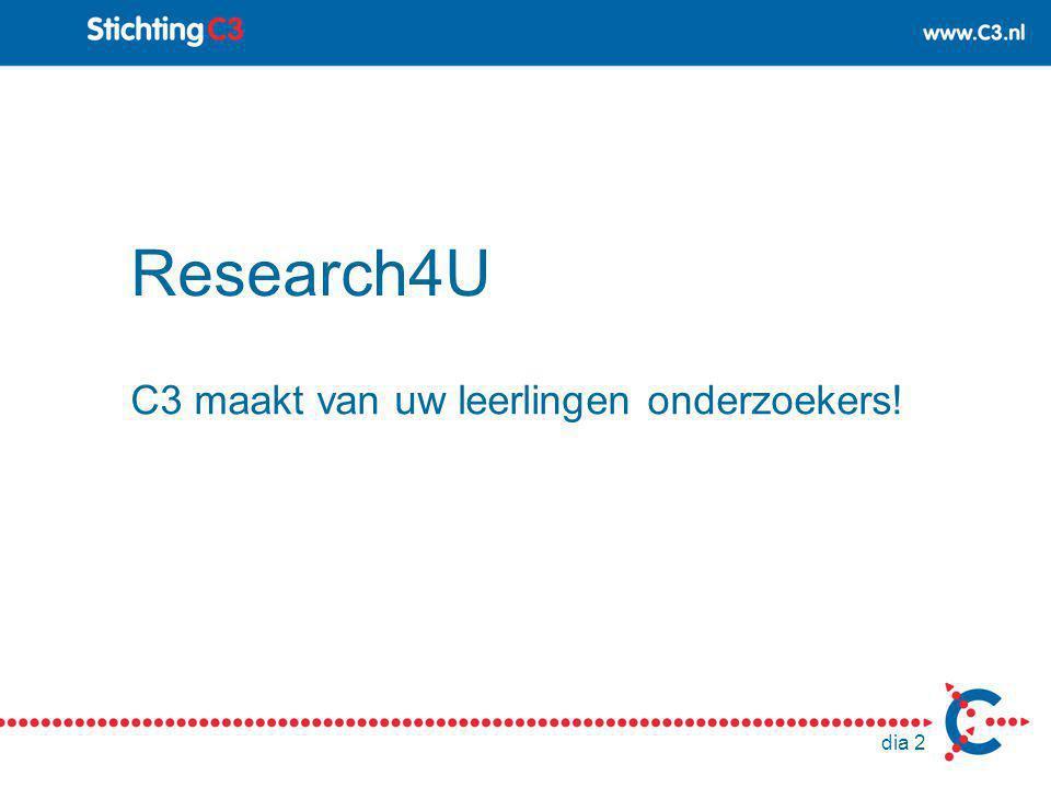 dia 2 Research4U C3 maakt van uw leerlingen onderzoekers!