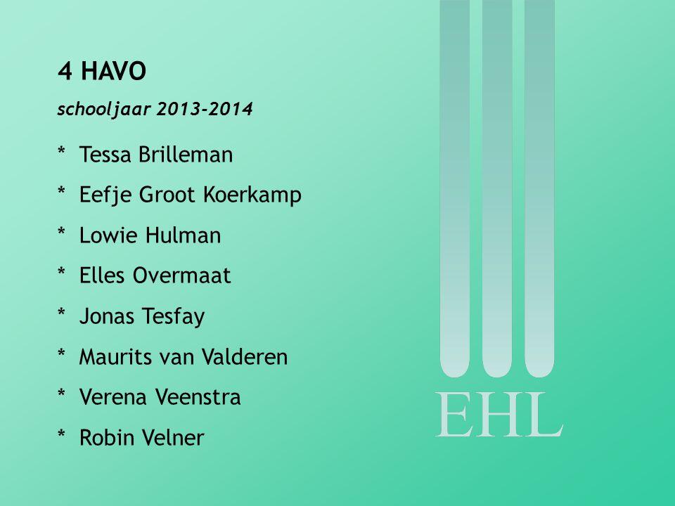 5 HAVO schooljaar 2013-2014 * Lars Bergman * Ellis Brakenhoff * Marleen Huisman * Nienke Landman * Julia Wesselink * Bernd Willems