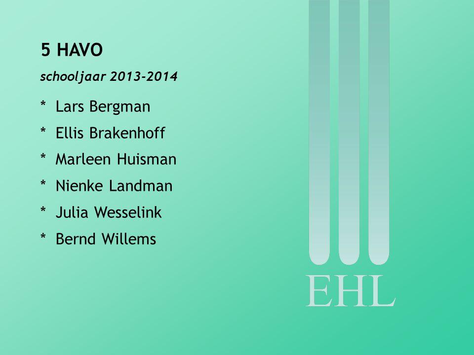 4 VWO schooljaar 2013-2014 * Kimmia Azampanah * Lieke Haan * Eva Hijlkema * Thijmen van Hoorn * Ruben Lipholt * Lex Otto * Rosa de Vries Robbé * Willem van Weeren