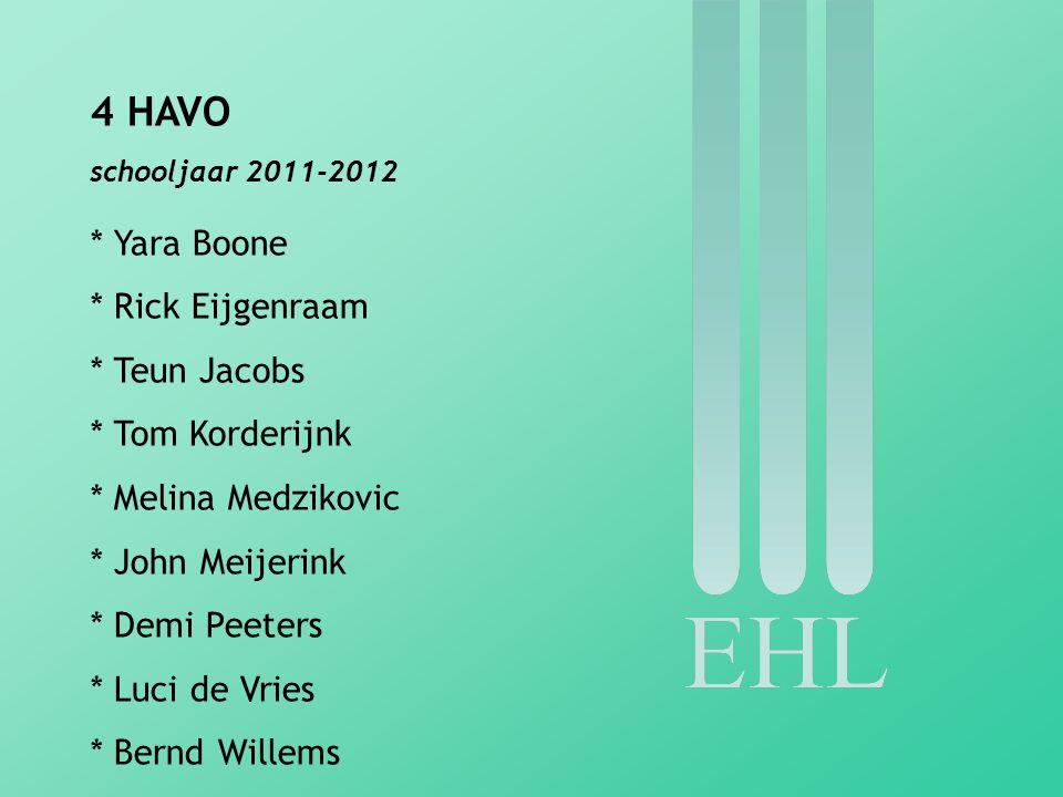 4 HAVO schooljaar 2011-2012 * Yara Boone * Rick Eijgenraam * Teun Jacobs * Tom Korderijnk * Melina Medzikovic * John Meijerink * Demi Peeters * Luci d