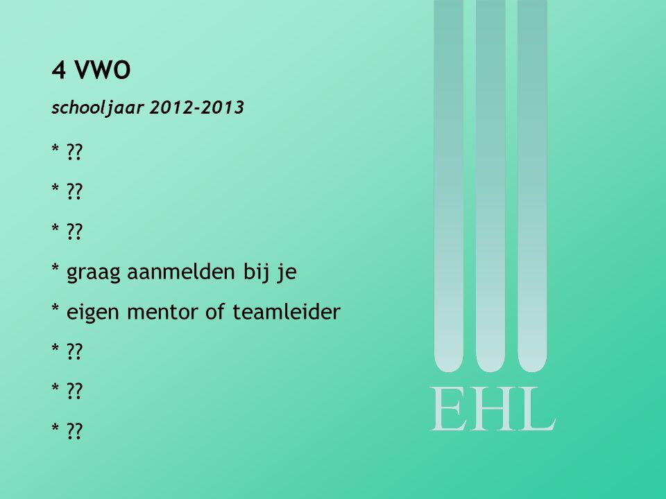 4 VWO schooljaar 2012-2013 * ?? * graag aanmelden bij je * eigen mentor of teamleider * ??