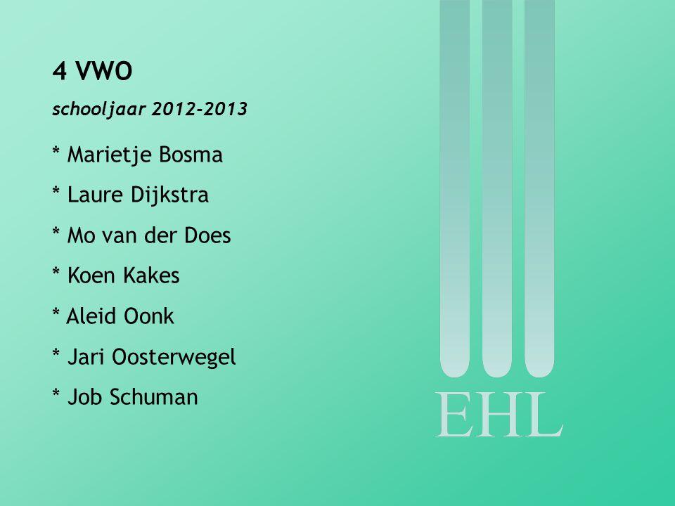 4 VWO schooljaar 2012-2013 * Marietje Bosma * Laure Dijkstra * Mo van der Does * Koen Kakes * Aleid Oonk * Jari Oosterwegel * Job Schuman