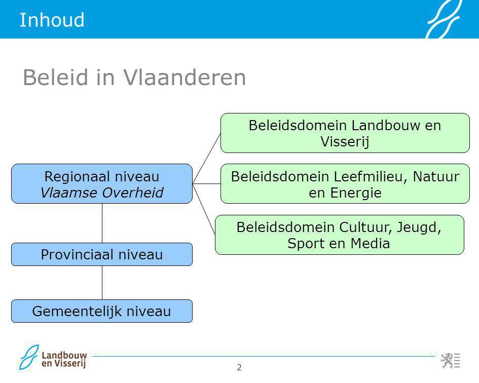 2 Inhoud Regionaal niveau Vlaamse Overheid Provinciaal niveau Gemeentelijk niveau Beleidsdomein Landbouw en Visserij Beleidsdomein Leefmilieu, Natuur