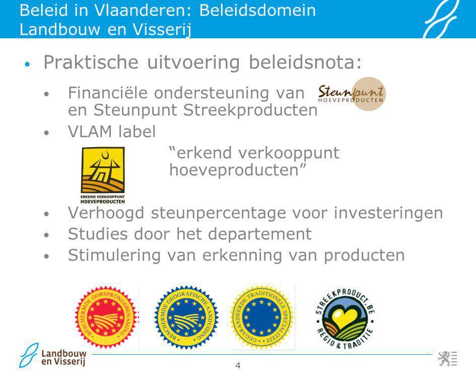4 Beleid in Vlaanderen: Beleidsdomein Landbouw en Visserij Praktische uitvoering beleidsnota: Financiële ondersteuning van en Steunpunt Streekproducte