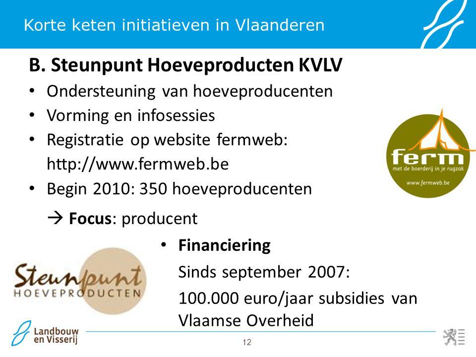 12 Korte keten initiatieven in Vlaanderen B. Steunpunt Hoeveproducten KVLV Ondersteuning van hoeveproducenten Vorming en infosessies Registratie op we