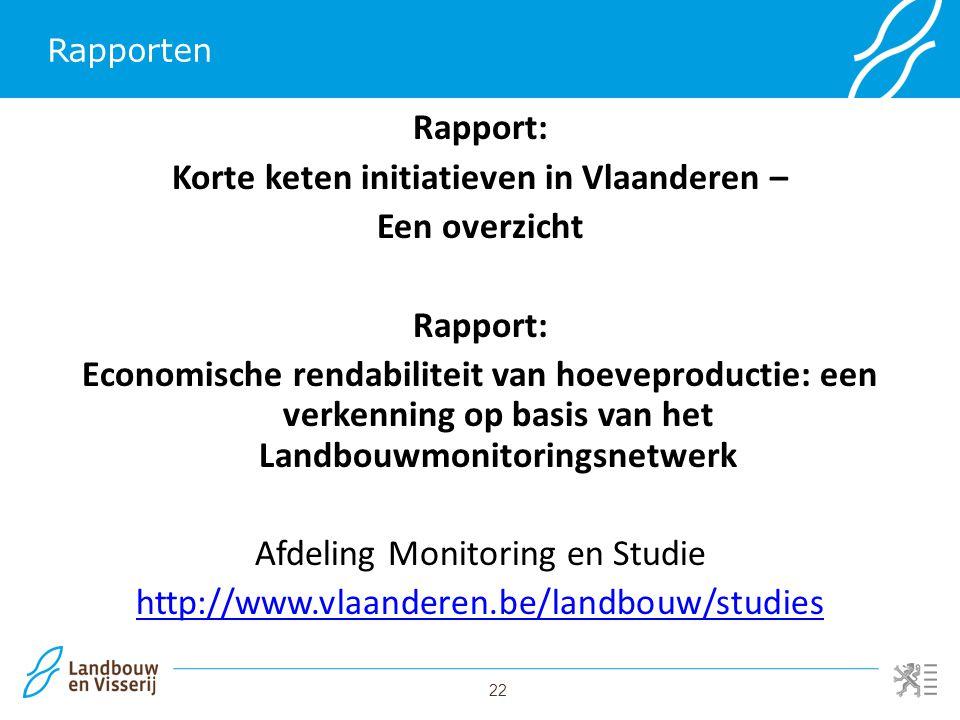 22 Rapporten Rapport: Korte keten initiatieven in Vlaanderen – Een overzicht Rapport: Economische rendabiliteit van hoeveproductie: een verkenning op