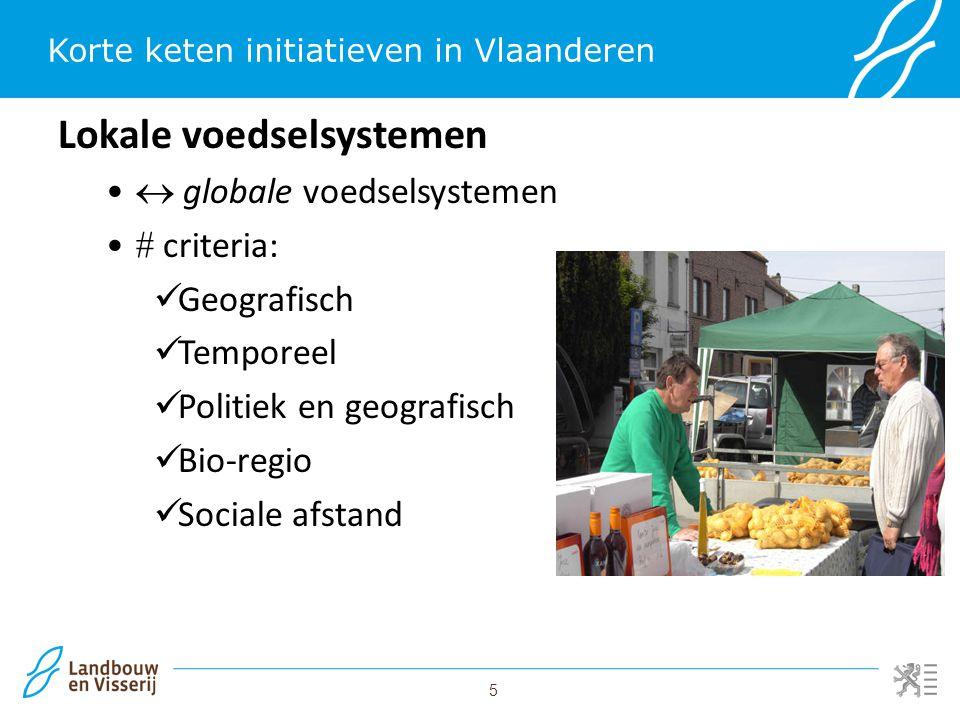 5 Korte keten initiatieven in Vlaanderen Lokale voedselsystemen  globale voedselsystemen  criteria: Geografisch Temporeel Politiek en geografisch Bi