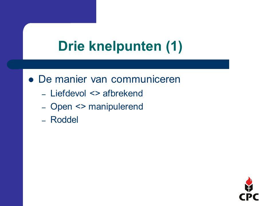 Drie knelpunten (1) De manier van communiceren – Liefdevol <> afbrekend – Open <> manipulerend – Roddel